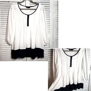 Nordstrom White Navy Pleated Pintuck Tunic Blouse